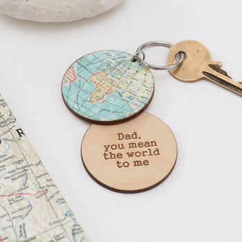 You Are My World Map Keyring