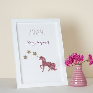 Personalised Unicorn Name Framed Print