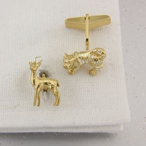 Tiger And Deer Cufflinks In 18 Ct Gold Vermeil