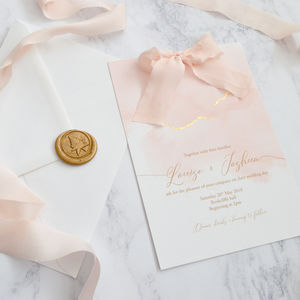 Blush Watercolour And Silk Ribbon Wedding Invitation - view all new