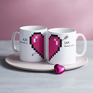 Personalised Pixel Love Heart Mugs Pair - tableware