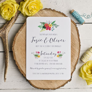 Daisy Floral Wedding Invitation - invitations