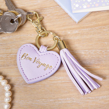 Bon Voyage Faux Leather Lilac Keyring With Tassel