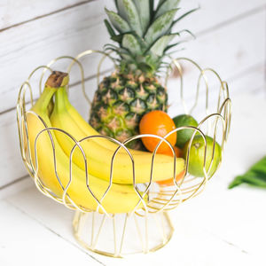 Gold Wire Fruit Basket - fruit bowls