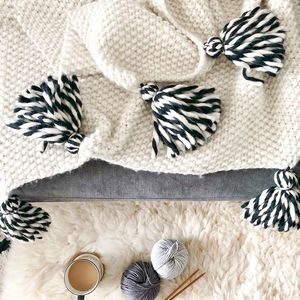 Knit Your Own Chunky Tassel Throw With Twisted Wool Kit