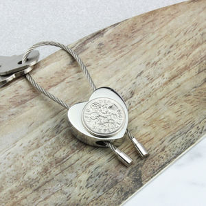 Personalised 1958 60th Birthday Sixpence Heart Keyring