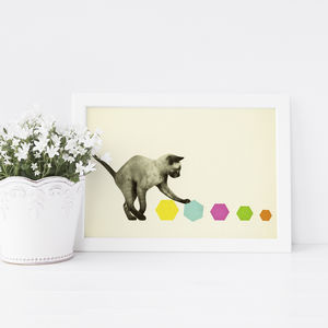 Kitty Cat Geometric Children's Print - nursery pictures & prints