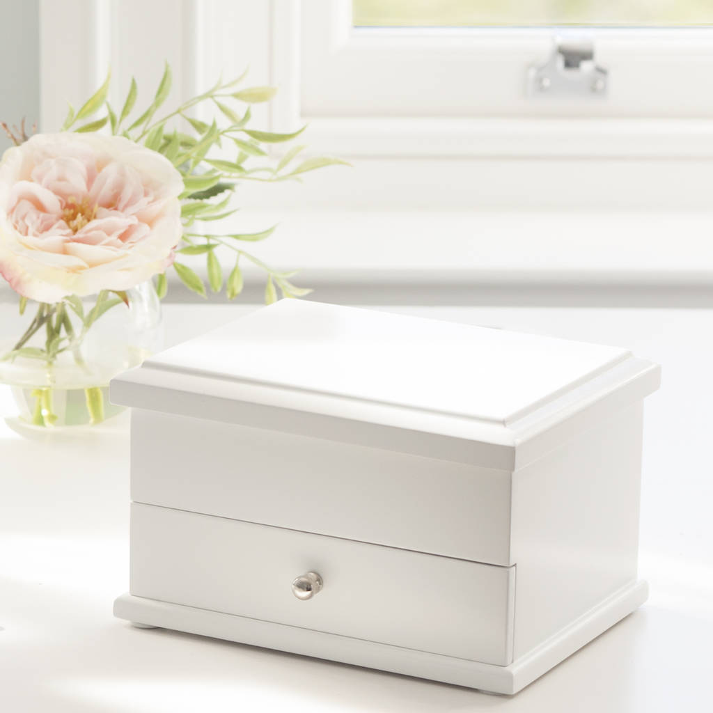 White Wooden Jewelry Box Wooden Designs
