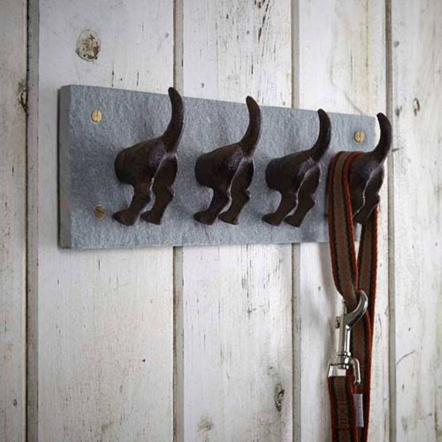 Handmade cast iron dog tail coat hooks vintage wall hat hanger organiser rack ebay - Cast iron row of hooks ...