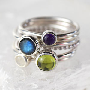 Choose Your Birthstone Gemstone Stacking Ring