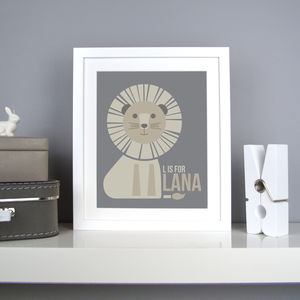 Personalised Lion Nursery Print - pictures & prints for children
