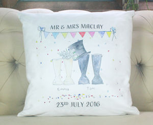 Personalised Wedding Welly Boot Cushion Cover - personalised wedding gifts