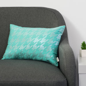 Metallic Dogtooth Cotton Rectangular Cushion