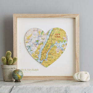 Personalised Map Location Heart Wedding Print Gift - 1st anniversary: paper