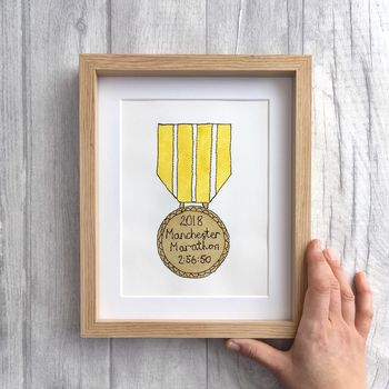 Hand Painted And Embroidered Marathon Gold Medal