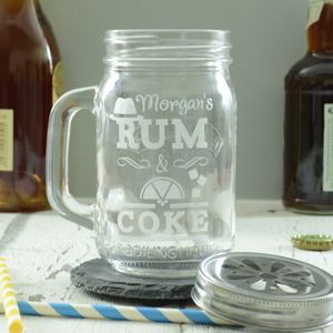Rum And Coke Personalised Drinking Jar - home sale
