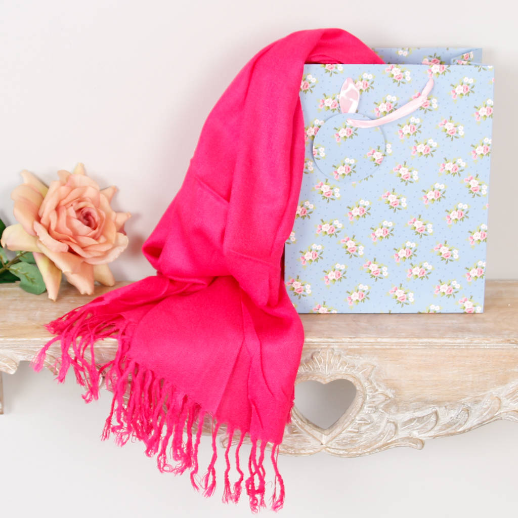 Fuchsia Pashmina Wrap Scarf / Shawl In Gift Bag