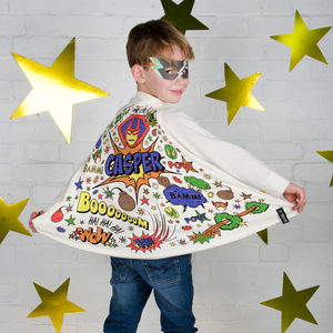 Superhero Colour In Cape With Fabric Pens - gifts to squirrel away for the kids