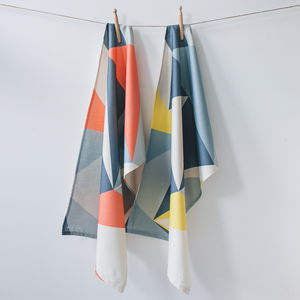 Set Of Two Organic Cotton Tea Towels