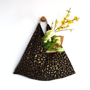 Handmade Medium Origami Shopper Bag Black And Gold - women's accessories