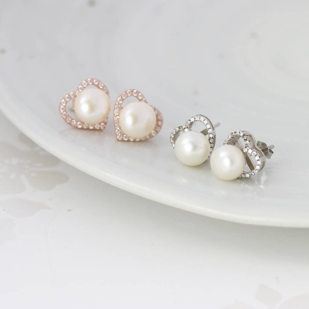 Gold Or Silver Pave Crystal Heart Earrings With Pearl