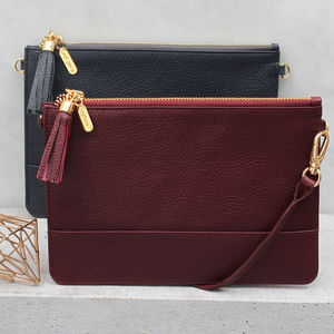 Luxury Leather Personalised Clutch Or Shoulder Bag - card holders