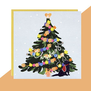 'Labrador Tree' Christmas Card Pack Of Five Or Single