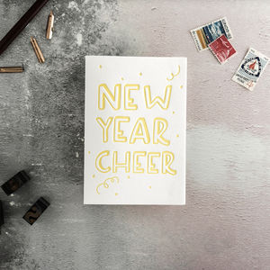 New Year Cheer Letterpress Card - new year cards