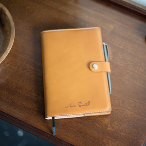 A5 Personalised Vegetable Tanned Leather Notebook + Pen - writing