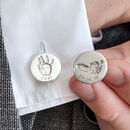 Silver Handprint And Footprint Disc Cufflinks For Dad
