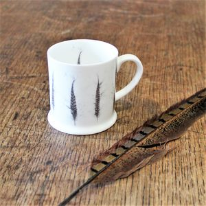 Pheasant Feather Bone China Mini Mug