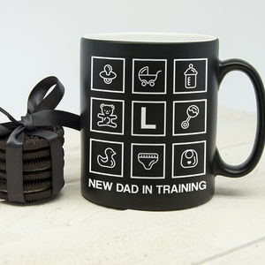 Personalised New Dad In Training Black Matte Mug
