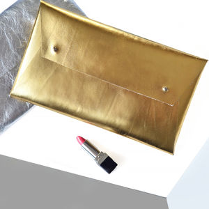 Metallic Leather Clutch