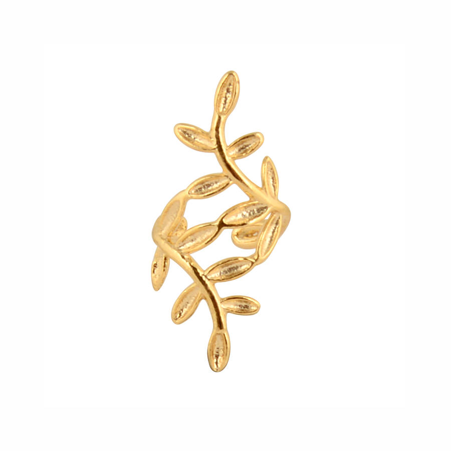 sterling silver leaf ear cuff in gold vermeil by dose of rose ...