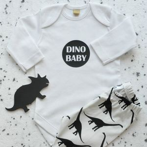 Dinosaur Leggings And Babygrow Gift Set - baby shower gifts
