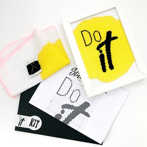 'Do It' Modern Cross Stitch Mini Kit - new in home
