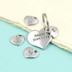 Birthday Number Pocket Heart Pewter Keyring