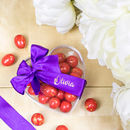 Personalised Ribbon Heart Box With Luxury Chocolates