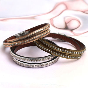 Personalised Double Wrap Metallic Leather Bracelet