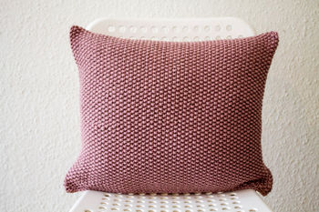Fine Hand Knitted Moss Stitch Knit Cushion Cover