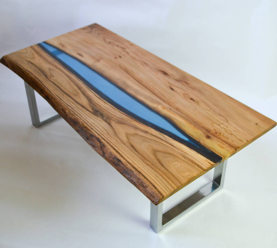 Resin river coffee table on steel base by frances bradley for To the table