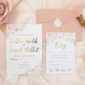Peony Blush Gold Foil Wedding Invitation And RSVP