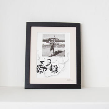 Personalised Bike Print With Bespoke Map And Photo