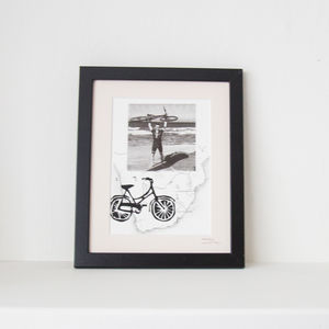Personalised Bike Print With Bespoke Map And Photo - drawings & illustrations