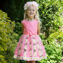Pink Daisy Flower Girls Occasion Party Dress