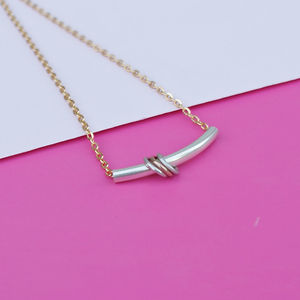 Curved Silver Bar Necklace With Rings
