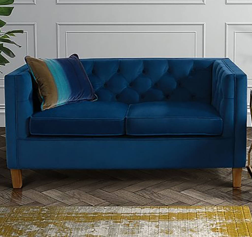 Velvet Button Back Two Seater Sofa