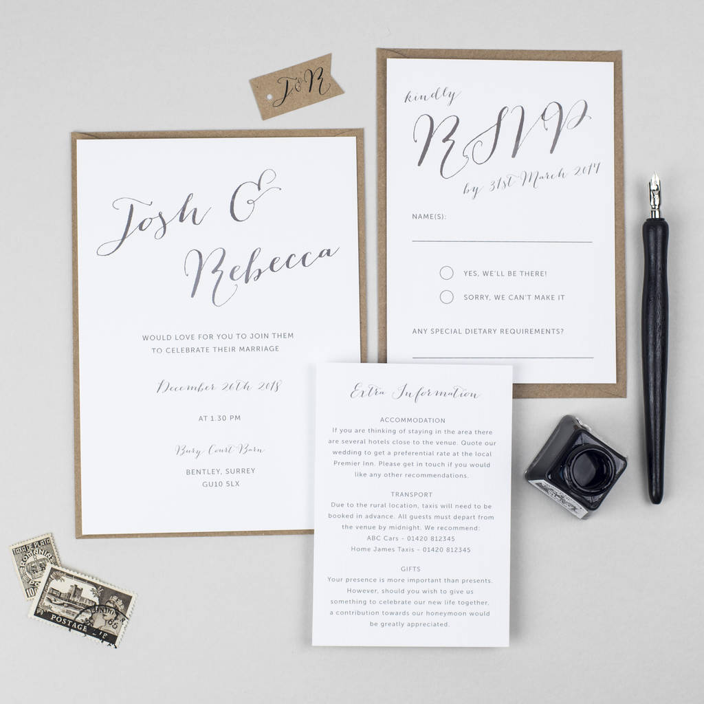 elegant calligraphy wedding invitation by pear paper co ...