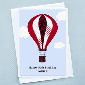 'Hot Air Balloon' Personalised Birthday Card