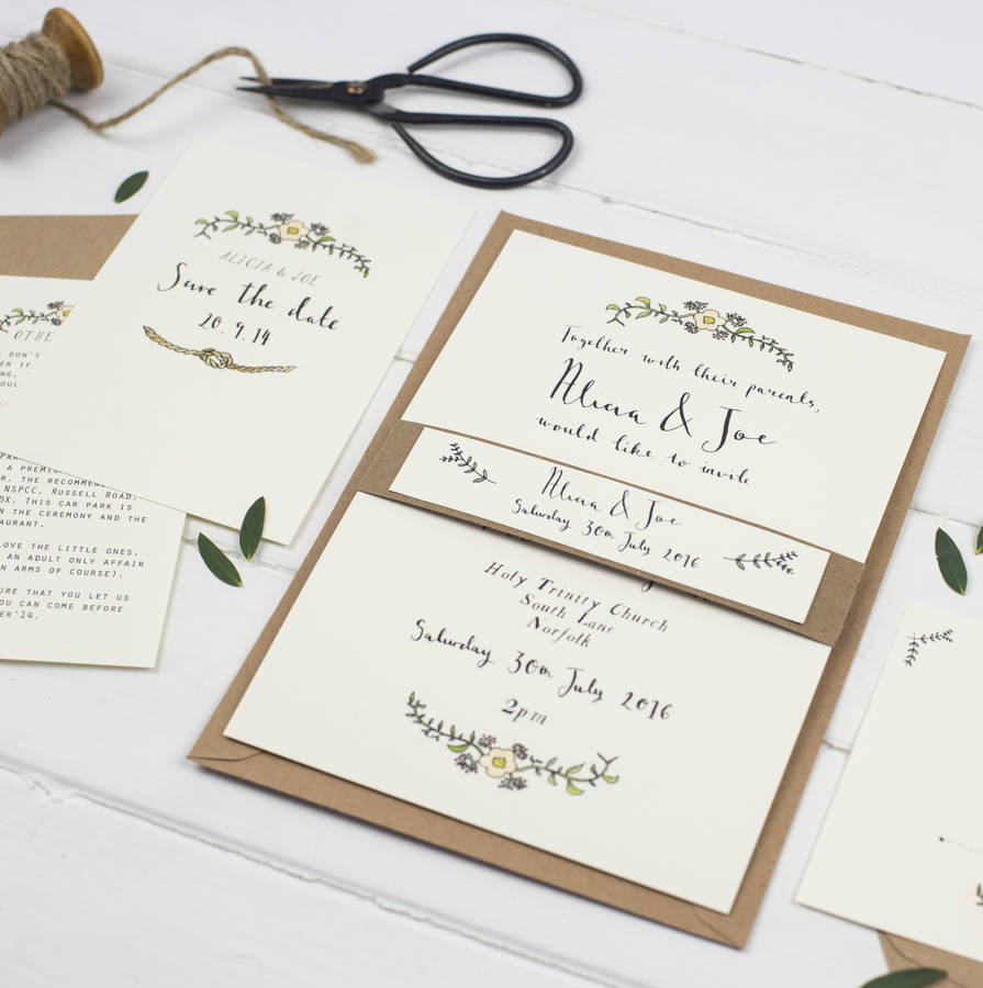 Wedding Postcard | Bespoke Alicia Postcard Wedding Invitation By Wildflower